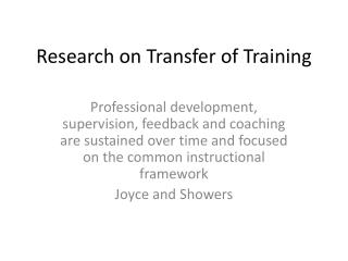 Research on Transfer of Training