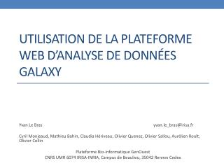 Utilisation de la plateforme web d'analyse de données  Galaxy
