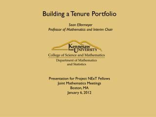 Building a Tenure Portfolio