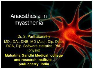 Anaesthesia in myasthenia