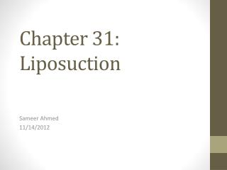 Chapter 31: Liposuction