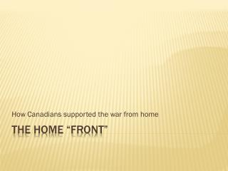 """The Home """"Front"""""""