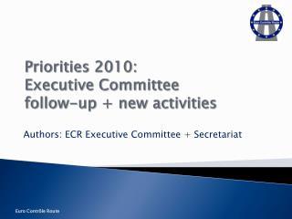 Priorities 2010:  Executive Committee follow-up + new activities