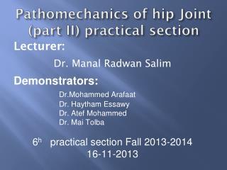 Pathomechanics of hip Joint (part II) practical section