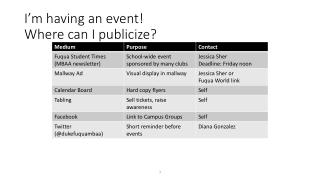 I'm having an event! Where can I publicize?