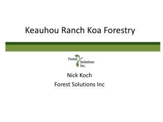Keauhou Ranch Koa Forestry
