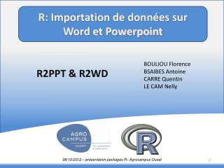 R: Importation de  données sur          Word et  Powerpoint