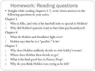 Homework: Reading questions