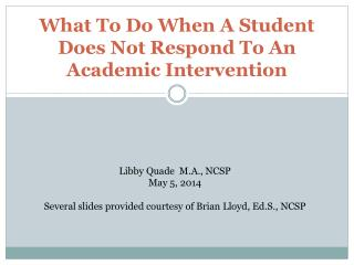 What To Do When A Student Does Not Respond To An Academic Intervention