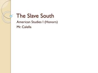 The Slave South