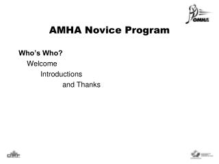 AMHA  Novice Program