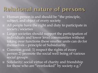 Relational nature of persons