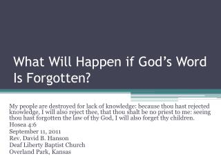 What Will Happen if God's Word Is Forgotten?