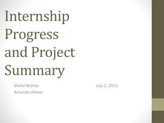 Internship Progress and Project Summary
