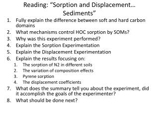 "Reading: ""Sorption and Displacement… Sediments"""