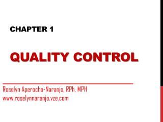 Chapter 1 quality control