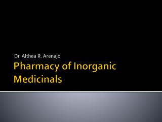 Pharmacy of Inorganic Medicinals