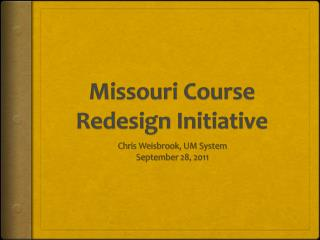 Missouri Course Redesign Initiative