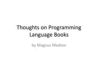 Thoughts on Programming Language Books