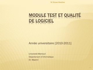Module Test et Qualité de logiciel
