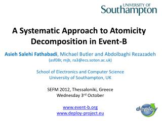 A Systematic Approach to Atomicity Decomposition in Event-B
