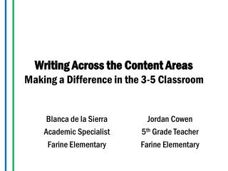 Writing Across the Content Areas Making a Difference in the 3-5 Classroom