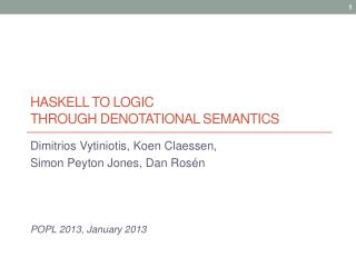 Haskell to logic  through denotational semantics