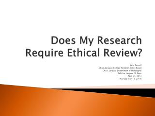 Does My Research Require Ethical Review?