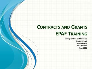 Contracts and Grants EPAF Training