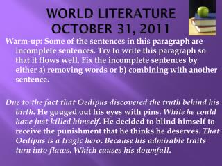 WORLD LITERATURE OCTOBER 31, 2011