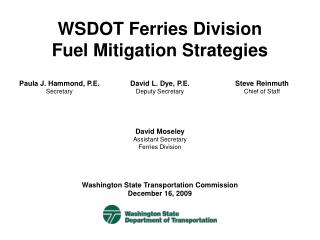 WSDOT Ferries Division Fuel Mitigation Strategies