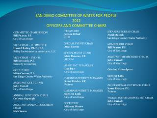 SAN DIEGO COMMITTEE OF WATER FOR PEOPLE    2012  OFFICERS AND COMMITTEE CHAIRS