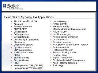 Examples of Synergy  H4  Applications: