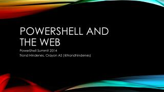 Powershell  and  the web