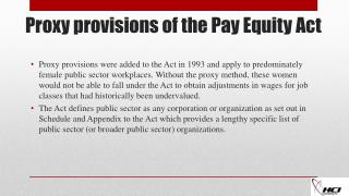 Proxy provisions of the Pay Equity Act