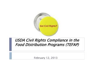 USDA Civil Rights Compliance in the  Food Distribution Programs (TEFAP)