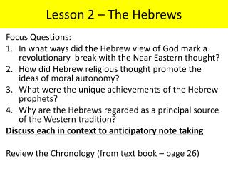 Lesson 2 � The Hebrews