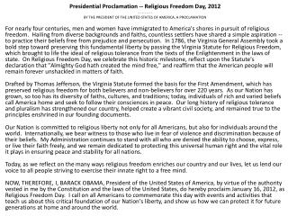 Presidential Proclamation -- Religious Freedom Day, 2012 - - - - - - -