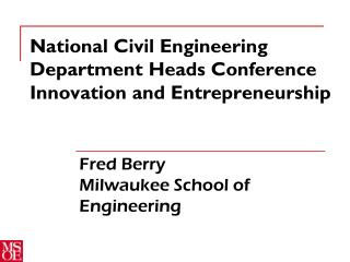 National Civil Engineering Department Heads Conference Innovation and Entrepreneurship
