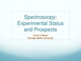 Spectroscopy:  Experimental Status  and  Prospects