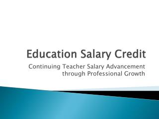 Education Salary Credit