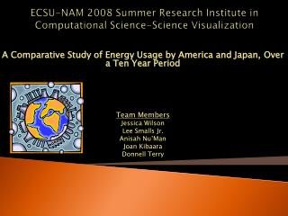 ECSU-NAM 2008 Summer Research Institute in Computational Science-Science Visualization