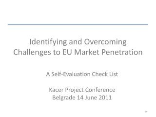 Identifying and Overcoming Challenges to EU Market Penetration
