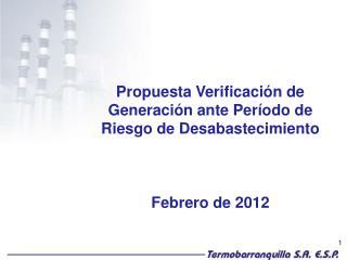 Propuesta Verificación de Generación ante Período de Riesgo de Desabastecimiento Febrero de 2012