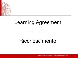 Learning  Agreement ______ Riconoscimento