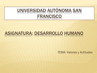 Asignatura: DESARROLLO HUMANO