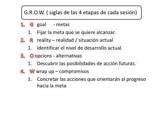 G goal - metas Fijar la meta que se quiere alcanzar. R reality  � realidad / situaci�n actual