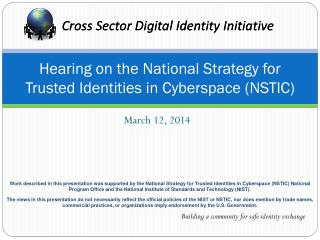 Hearing on the National Strategy for Trusted Identities in Cyberspace (NSTIC)