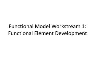 Functional Model Workstream 1: Functional Element Development