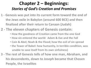 Chapter 2 – Beginnings: Stories of God's Creation and Promises